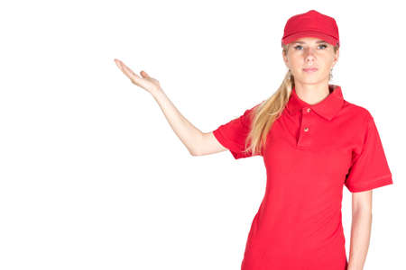 courier: Caucasian woman courier show anything isolated Stock Photo