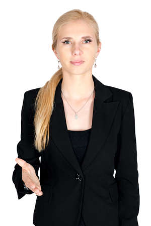 give hand: Businesswoman give hand isolated Stock Photo