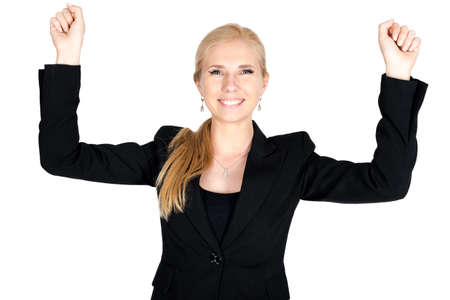 succesful: Succesful caucasian businesswoman on hands up isolated