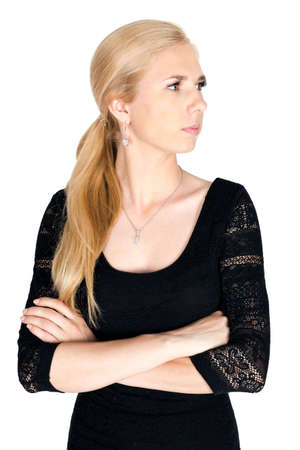 looking to side: Caucasian blonde woman looking side isolated Stock Photo