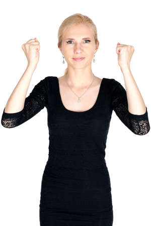 grip: Blonde woman grip fist isolated Stock Photo