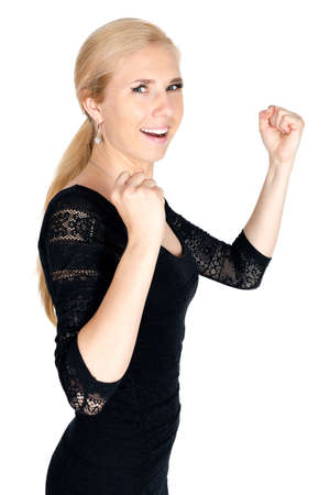 Happy proud woman grip fist isolated Stock Photo