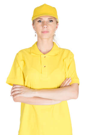 industry background: Yellow woman courier folded arms isolated