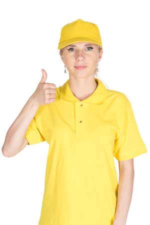courier: Woman courier yellow like some finger isolated