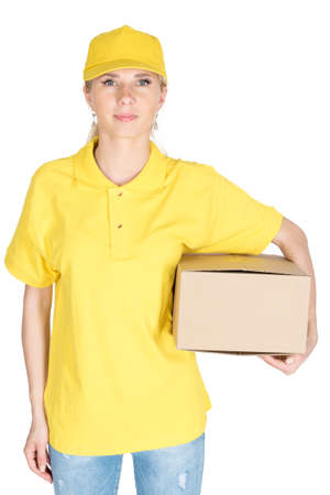 Woman courier in yellow boxes hold isolated