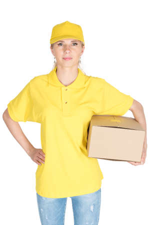 sales promotion: Woman yellow courier hold boxes isolated Stock Photo
