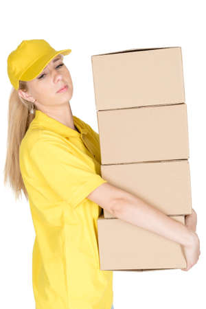 courier: Yellow courier carry boxes isolated Stock Photo