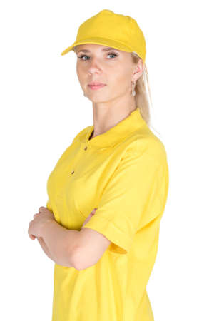 courier: Folded hands yellow courier isolated Stock Photo