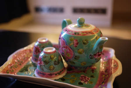 Peranakan teapot set Stock Photo - 27910906