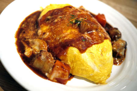Japanese Curry Omelette Rice with stew beef
