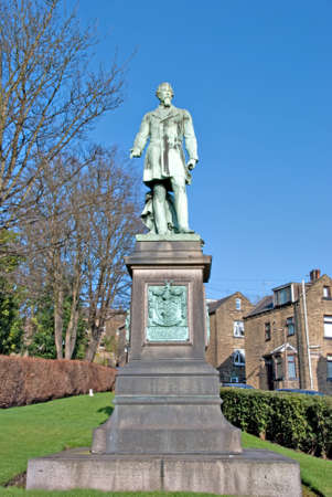 philanthropist: Statue of Colonel Edward Akroyd Halifax Mill Owner and Philanthropist Stock Photo