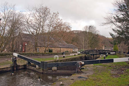 Lock Gates on the Rochdale Canal at Hebden Bridge photo