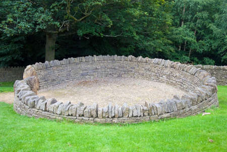 A dry stone sheep pen in yorkshire Stock Photo