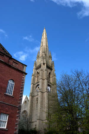 The Spire of a ruined church  in Yorkshire against a blue sky Stock Photo - 9318718