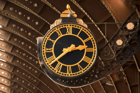 An Antique Black and Gold Railway Station Clock Stock Photo - 9877105