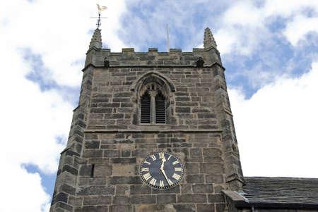 A Stone Built English Church Tower Stock Photo