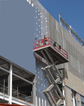 A Scissor Lift Platform on a construction site Editorial