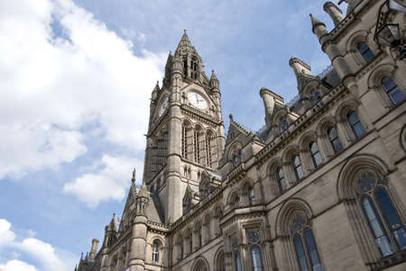 Town Hall and Clocktower of Manchester Town Hall Stock Photo
