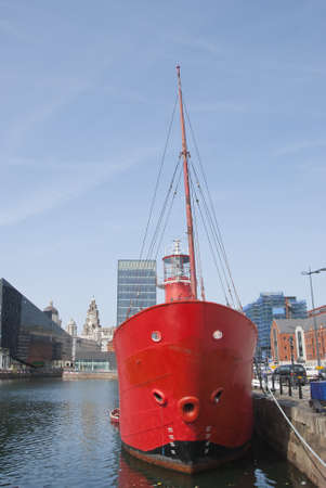 The Bows and Light of a Red Lightship in a English Dock Stock Photo - 10604361