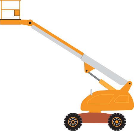 lift trucks: An Orange and Gray Cherry Picker Mobile Lift Platform Illustration