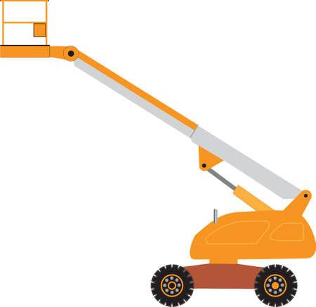 montacargas: Una naranja y gris cereza Plataforma Selector de grúa móvil Vectores