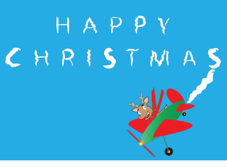 avion caricatura: Rudolf, el reno en un cielo plano de dibujos animados escritura Feliz Navidad Vectores