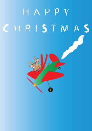 Rudolf the Reindeer  in a cartoon plane Sky Writing Happy Christmas suitable for Greeting Card or Gift Wrap Portrait Format Vector