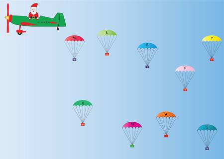 Vector Image of Father Christmas in a Green and Red Plane dropping Presents on Parachutes suitable for Gift Wrap or Greetings Cards Vector