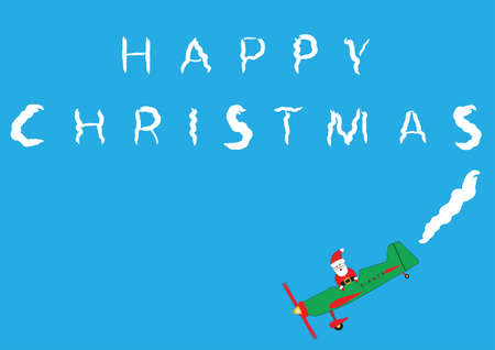 Santa Claus  in a cartoon plane Sky Writing Happy Christmas suitable for Greeting Card or Gift Wrap  Illustration