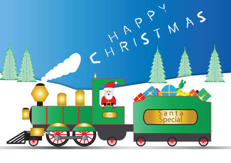 christmas train: Santa Claus in a Green and Gold Steam Engine with Smoke wishing Happy Christmas