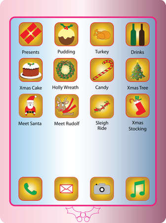 A Pink Touch Screen Phone with Christmas themed Application Icons suitable for gift wrap or Christmas Card