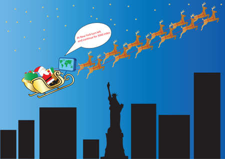 Santa and his Reindeer following Satellite Navigation over New York and the Statue of Liberty suitable for Gift Wrap or Greeting Card Vector