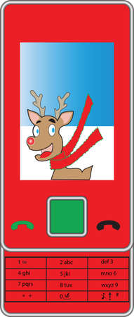 rudolf: A Red Christmas Mobile Camera Phone with a Picture of Rudolf the Reindeer