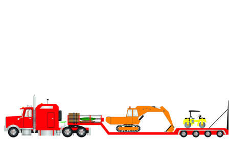 Vector Image ofa RedLowload Semitrailer and  Truck with a sleeper cab loaded with an Excavator and Road Roller as load