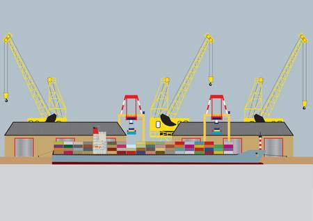 A vector image of a  Container Ship unloading in Harbour with Warehouses and Dock Cranes Vector