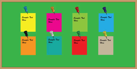 pinboard: A Vector Green Office Noticeboard with reminder memos and pushpins with editable text usable as background Illustration