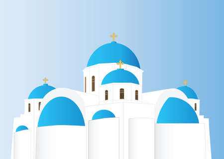 Vector of a Blue and White Greek Orthodox Church with Domes Illustration