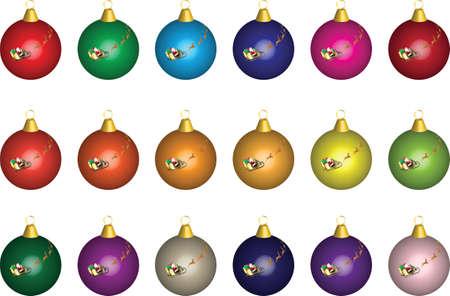 Multi Coloured Christmas Baubles with Santa Sleigh and Reindeer Stock Vector - 11667053