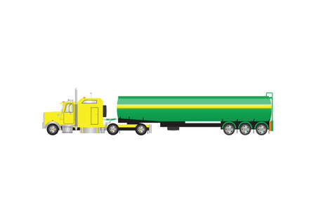 A Vector Image of a Yellow and Green Gasoline Tanker Truck Illustration