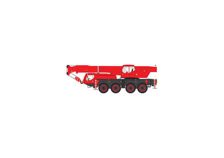 A Vector Image of a Red and Black Four Wheeler Mobile Crane Vector