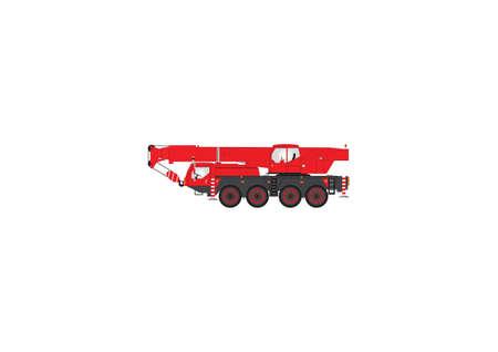 camion grua: Una imagen vectorial de Rojo y Negro de cuatro ruedas de grúas móviles