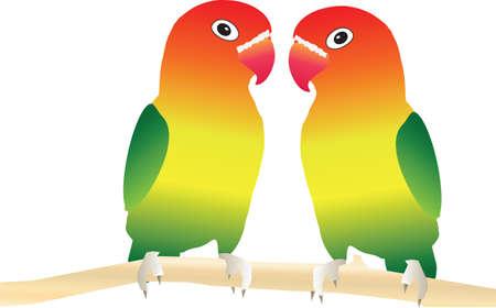 Twee tortelduifjes neergestreken op een boomtak geschikt voor Valentijnsdag Card Vector Illustratie