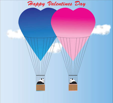 Valentine Day Card of Two Giant Pandas in Blue and Pink Hot Air Balloons Vector