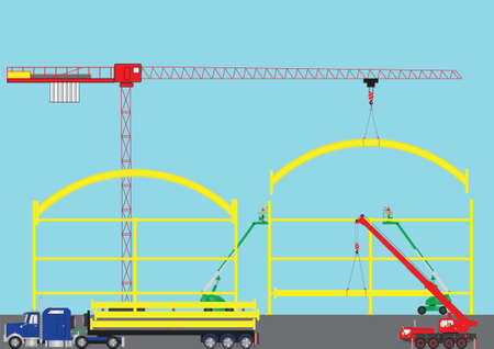 A Construction Site with Tower Crane Cherry Pickers Mobile Crane and Semi Trailer Loaded with Girders