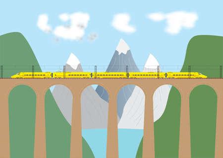 Un train à grande vitesse traversant un viaduc électrique dans une zone de montagne Vecteurs
