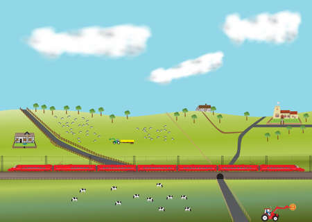 A High Speed Train travelling through farmland with old Church and  thatched cottages Vector