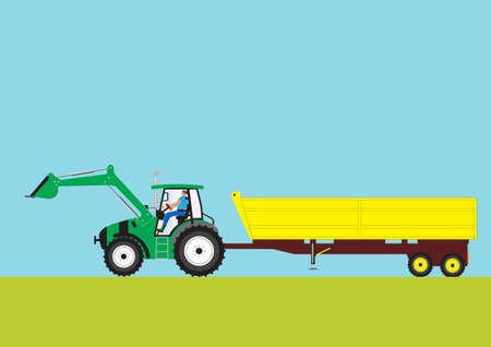 A Green Farm Tractor pulling a large Yellow Trailer Vector