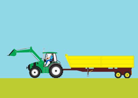 yellow tractor: Un tractor agr�cola verde tirando de un remolque amarillo grande