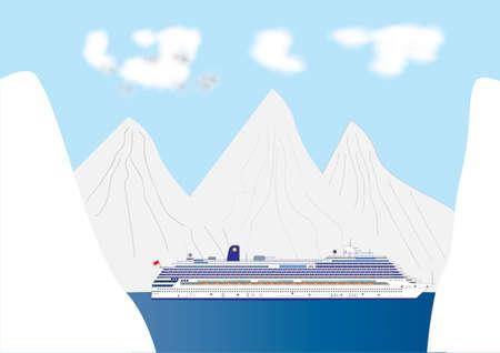 Een blauwe en witte Cruise Liner in een Fiord omgeven door een Landschap van de sneeuw