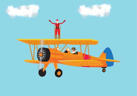 Een vrouw in een Red Jumpsuit Wing Walking op een vintage Biplane
